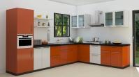 кухня оранжево и бяло